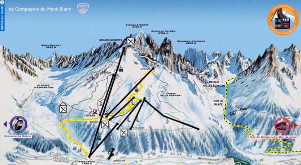 Chamonix Piste Maps Argentiere Grand Montets Huski Ski Chalet